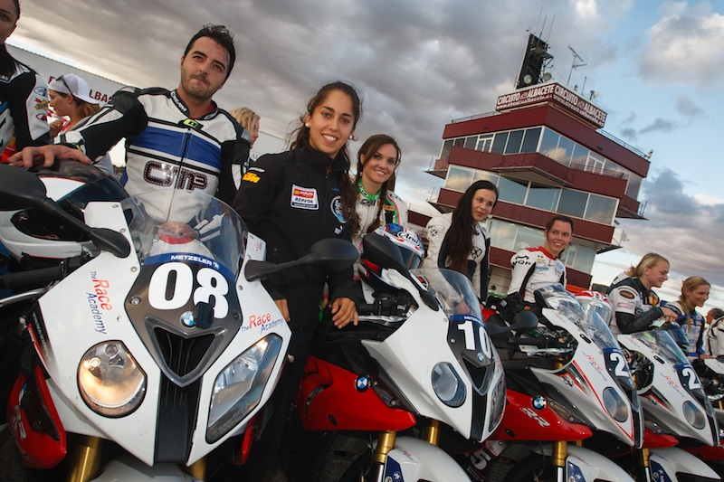 Girls in leather on fast motorcycles BMW S 1000 RR