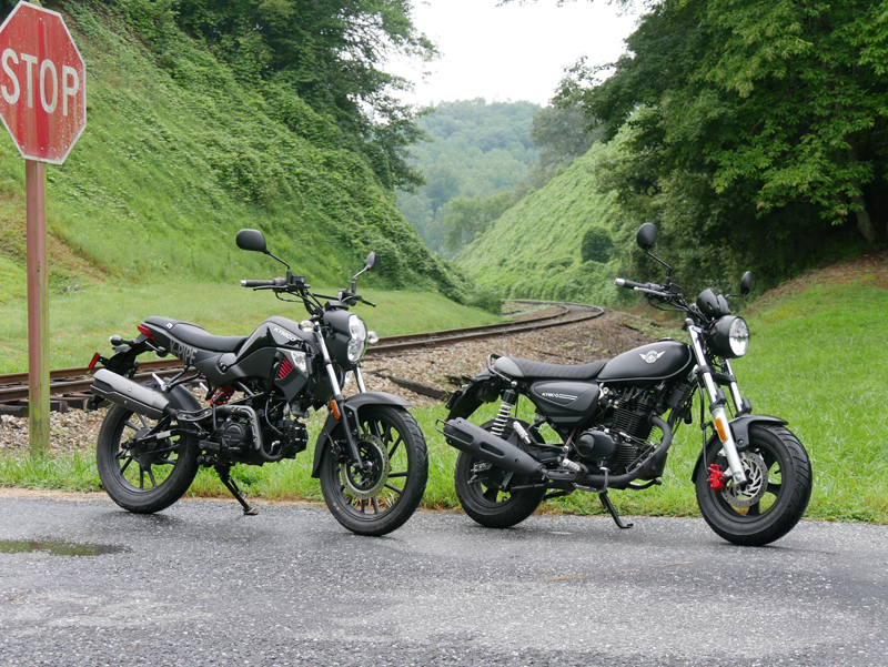 kymco spade 150 and k-pipe 125 small motorcycles big fun two bikes
