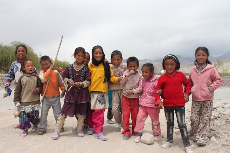 Young children on roadside in the Himalayas