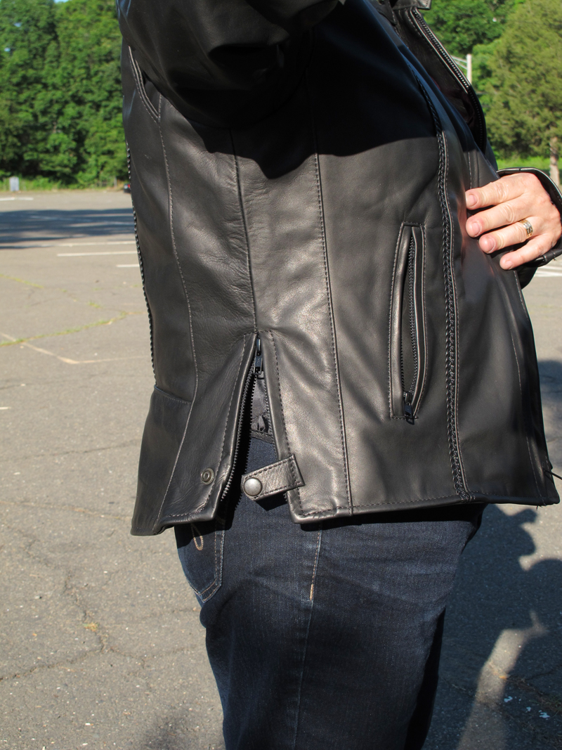 review leather motorcycle jacket with braided detail made in usa side