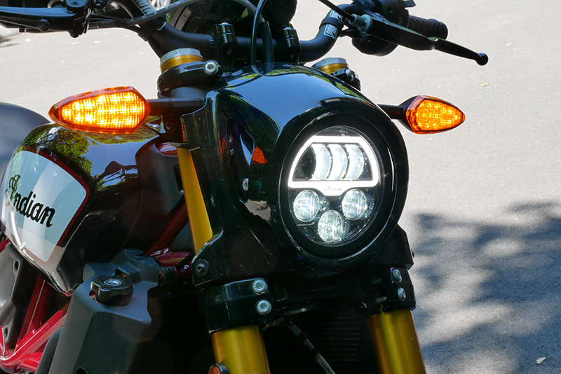 new bike review indian motorcycle ftr 1200 s v-twin roadster headlight