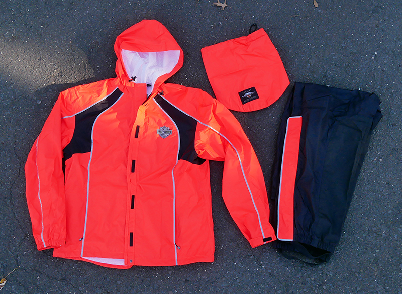 harley-davidson womens hi-vis rain suit orange reflective gear jacket pants carry bag