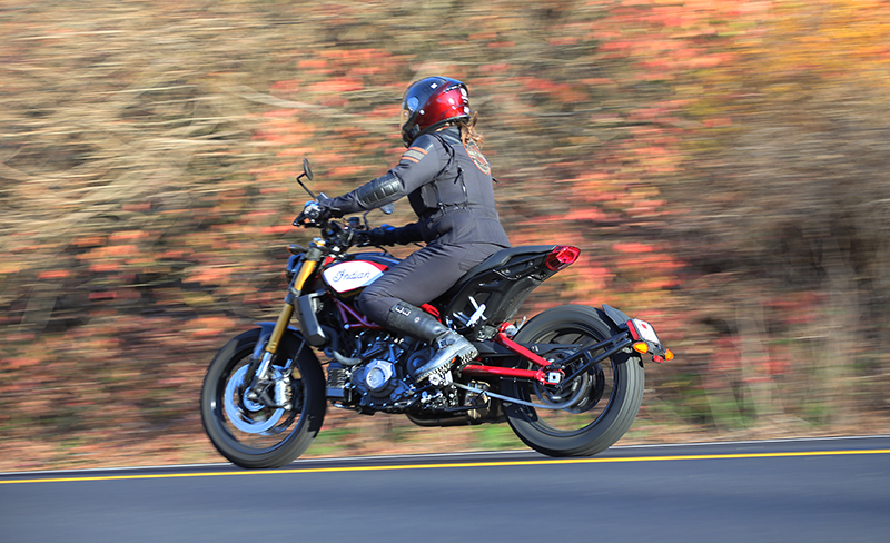 new bike review indian motorcycle ftr 1200 s v-twin roadster woman riding position