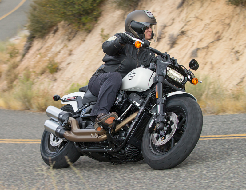 2018 Harley-Davidson Softails Review. Mid-placed pegs on the new Fat Bob.review 2018 harley-davidson softails fat bob pegs