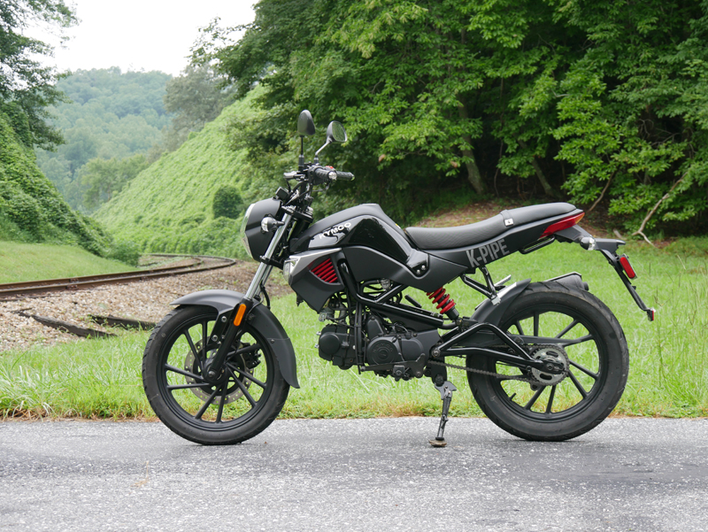 kymco k-pipe 125 small motorcycles big fun left