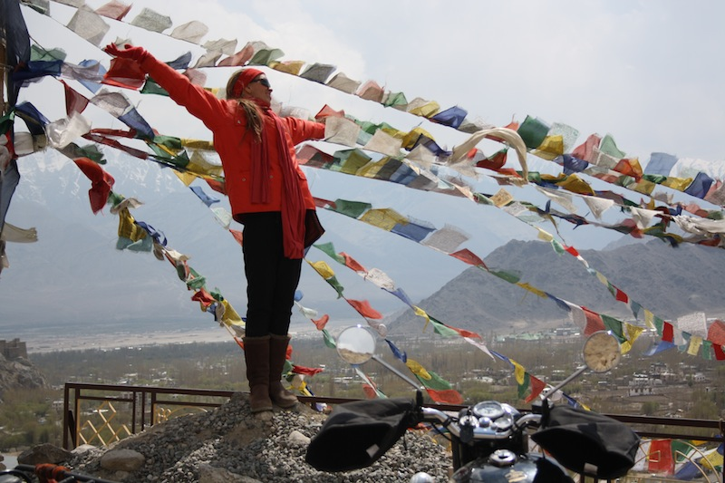 Backroads with Betsy Motorcycling in the Himalayas prayer flags