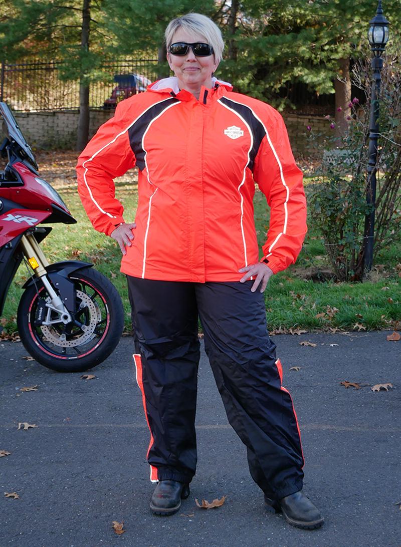 harley-davidson womens hi-vis rain suit orange reflective gear