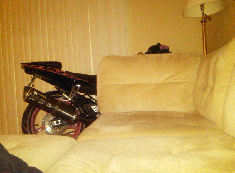 Turning Ones Passion for Motorcycles into a Career bike in living room