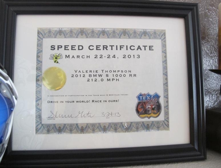 Valerie Thompson Profile Texas Mile 212 mph