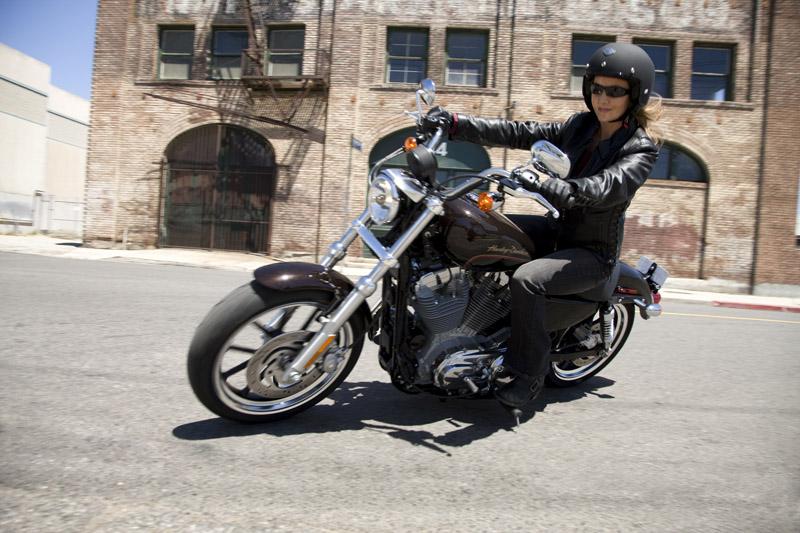 top 10 motorcycles women ride harley davidson sportster superlow riding