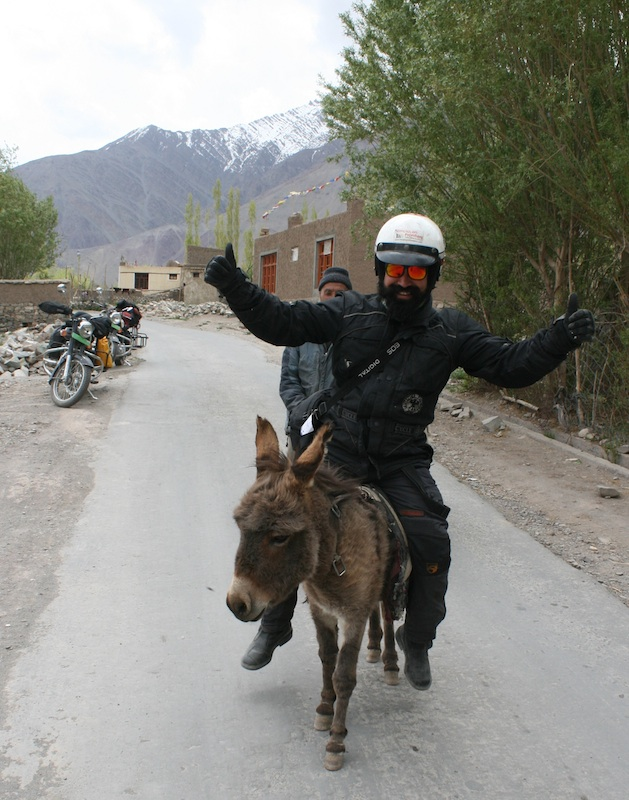 Backroads with Betsy Motorcycling in the Himalayas riding donkey
