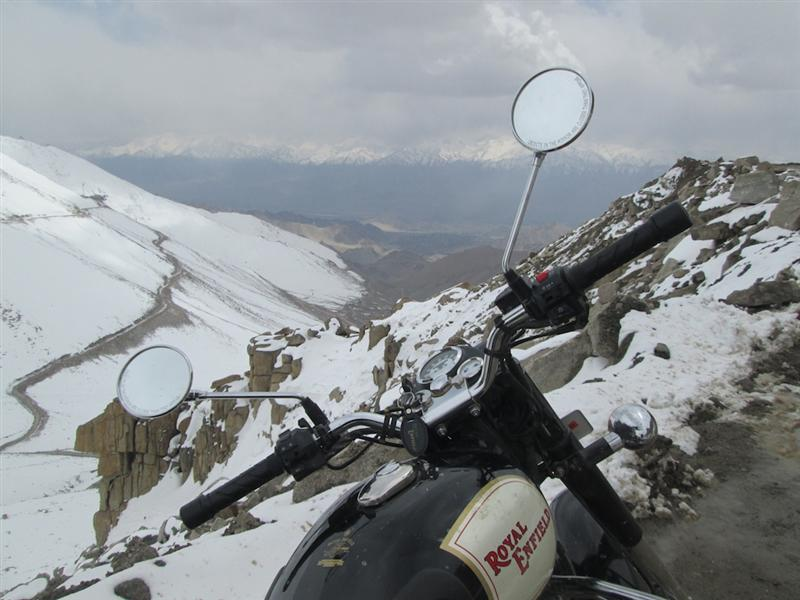 Backroads with Betsy Motorcycling in the Himalayas Royal Enfield on mountain road