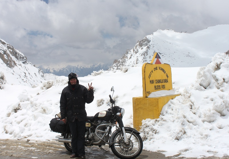 Backroads with Betsy Motorcycling in the Himalayas snowy summit