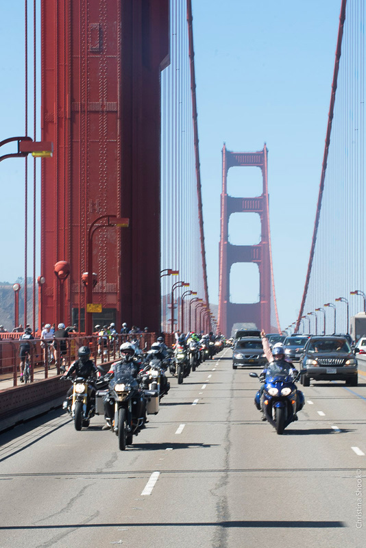 large scale womens motorcycle ride wraps up in san francisco sisters centennial golden gate bridge