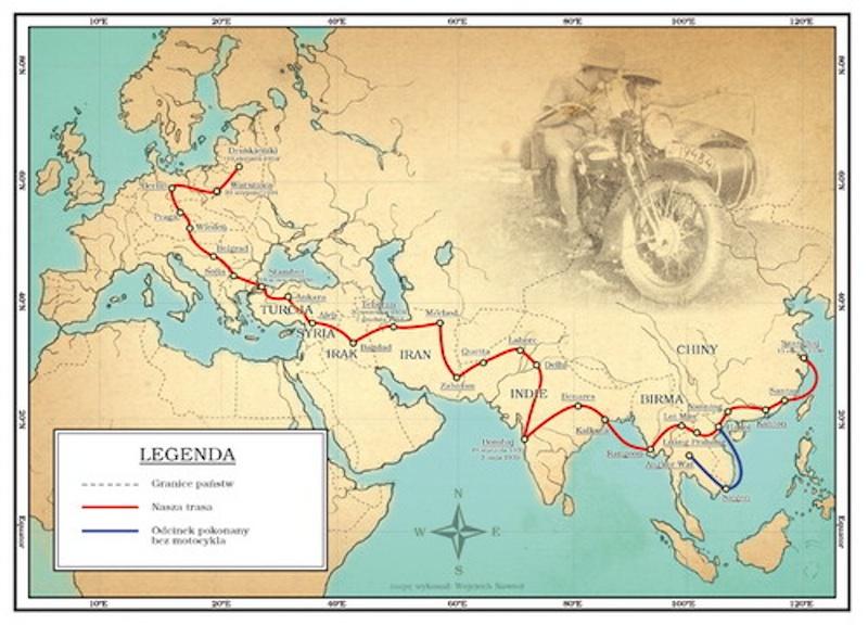 honeymooning by motorcycle map europe india asia