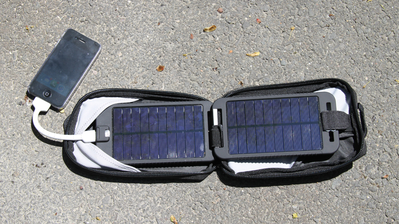 review solar charger for motorcycle camping cell phone