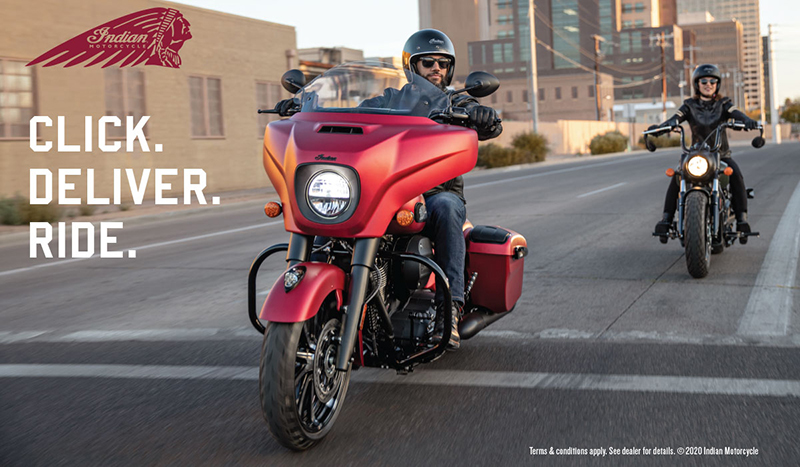 indian motorcycle delivering online purchases home click deliver ride woman