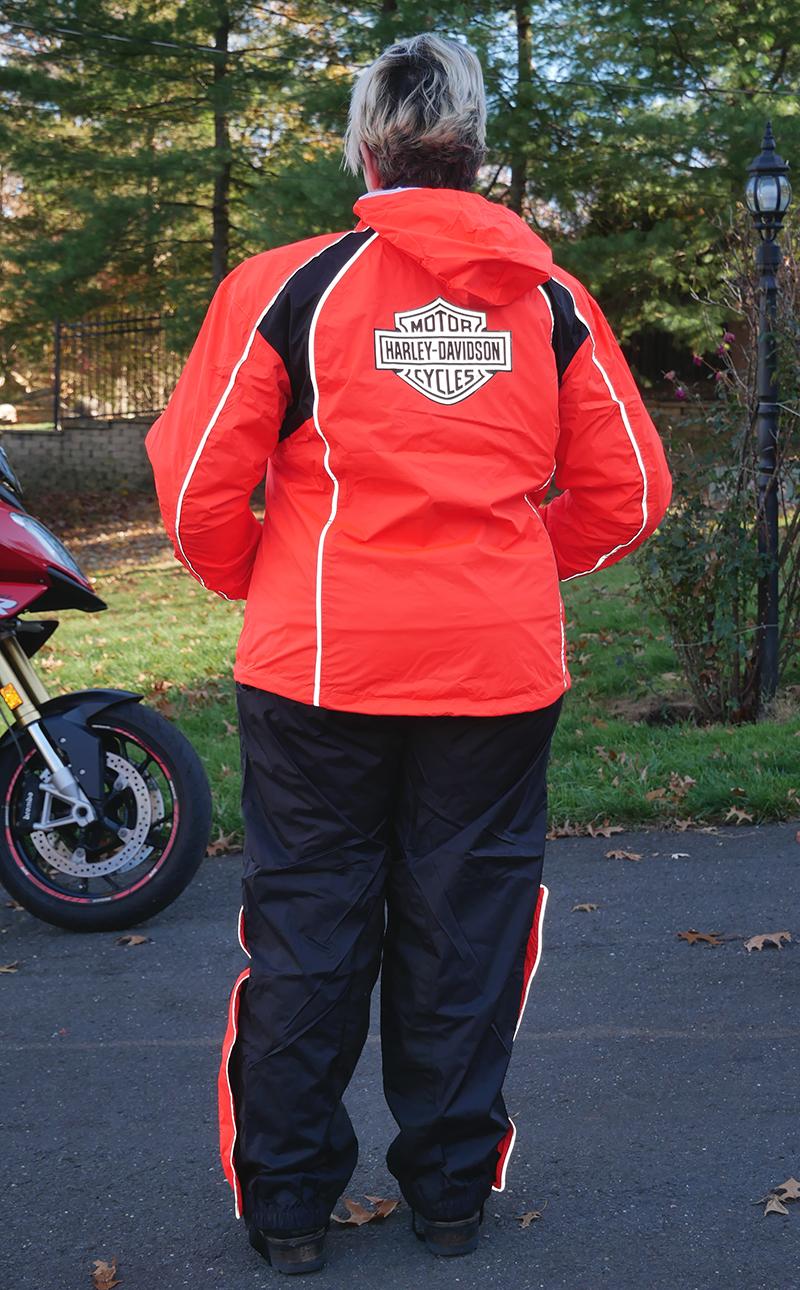 harley-davidson womens hi-vis rain suit orange reflective gear back