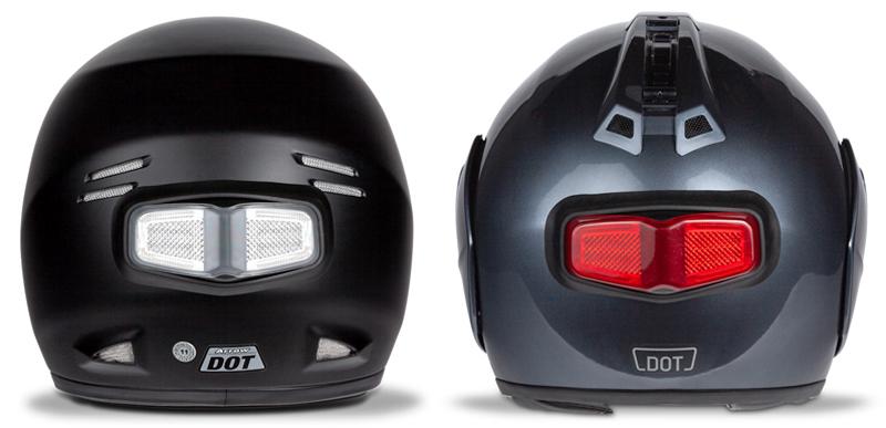 inview turn signal brake light led helmet clear red