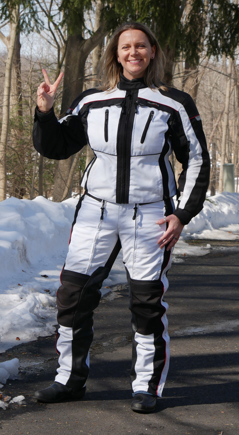 affordable technical 4 season motorcycle riding suit white black