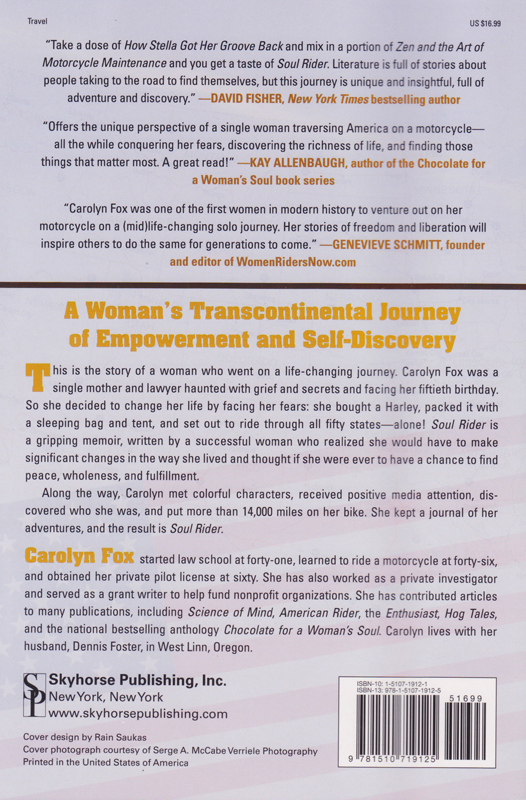book preview soul rider by carolyn fox back cover