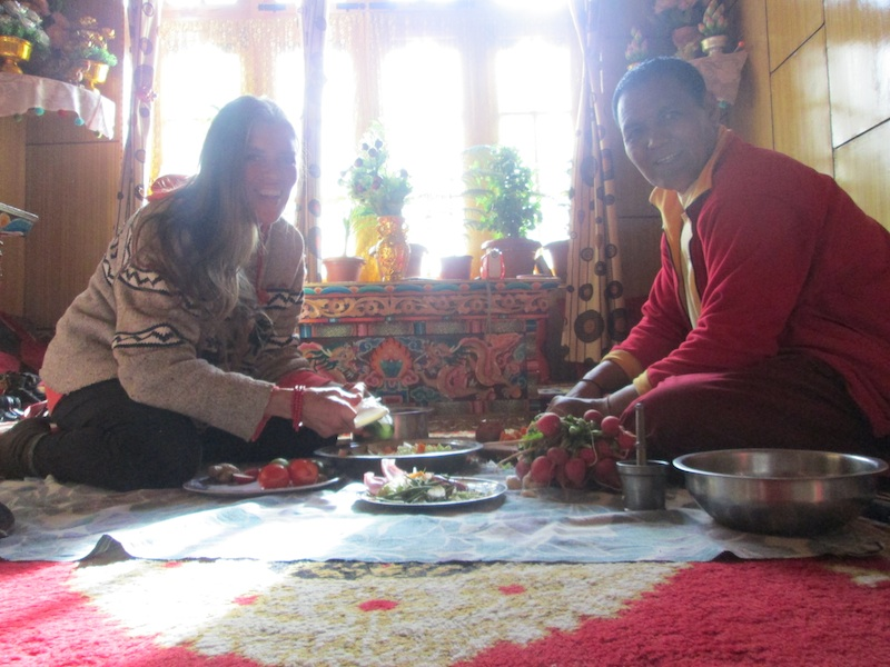 Backroads with Betsy Motorcycling in the Himalayas Buddhist monk meal