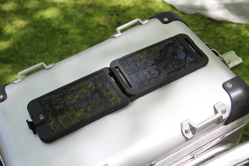 review solar charger for motorcycle camping SolarMonkey open