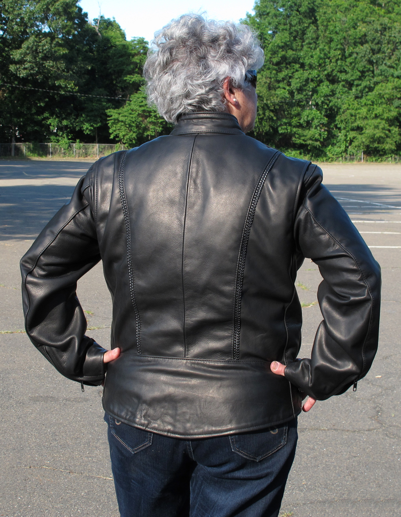 review leather motorcycle jacket with braided detail made in usa back