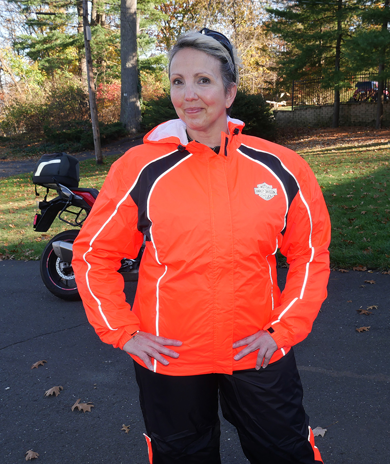 harley-davidson womens hi-vis rain suit orange reflective gear jacket front