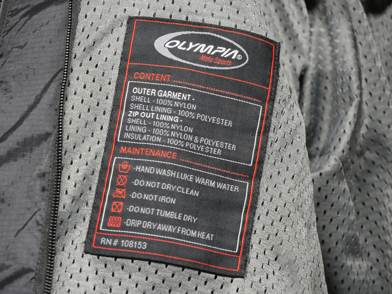 affordable techncial 4 season motorcycle riding suit materials tag