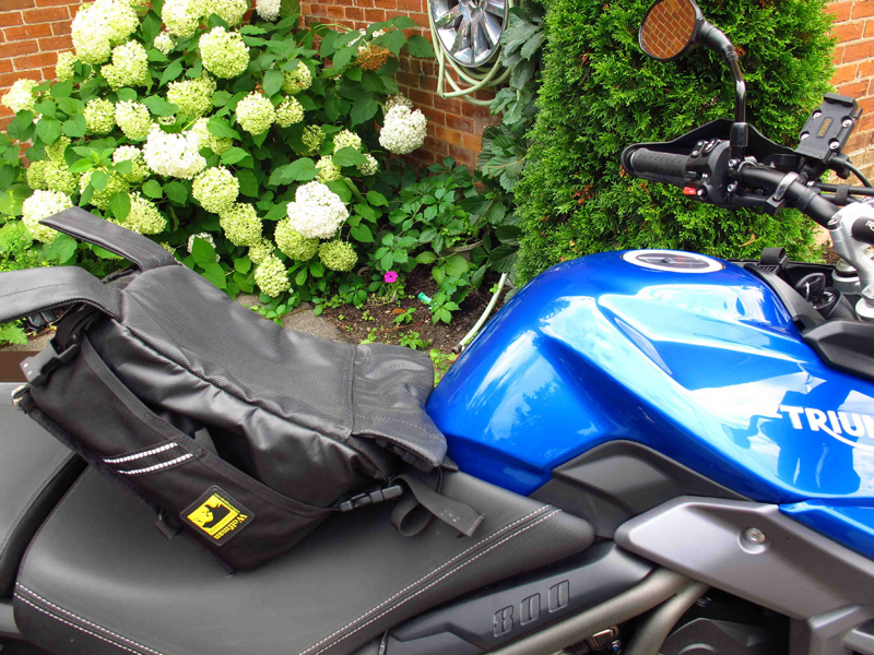 review wolfman expedition tank bag mounted on gas tank