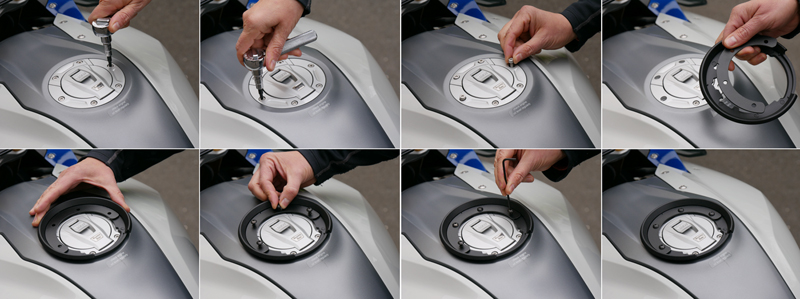 easy mount tank bags for standard sport sport-touring motorcycle installing tank ring
