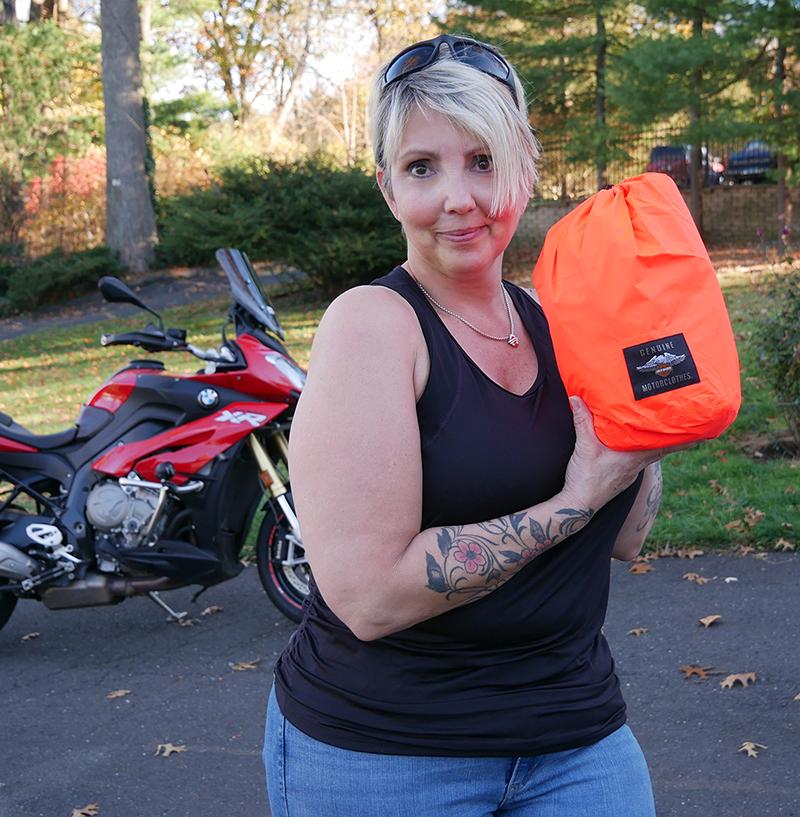 harley-davidson womens hi-vis rain suit orange reflective gear packed storage bag rebecca carter littman