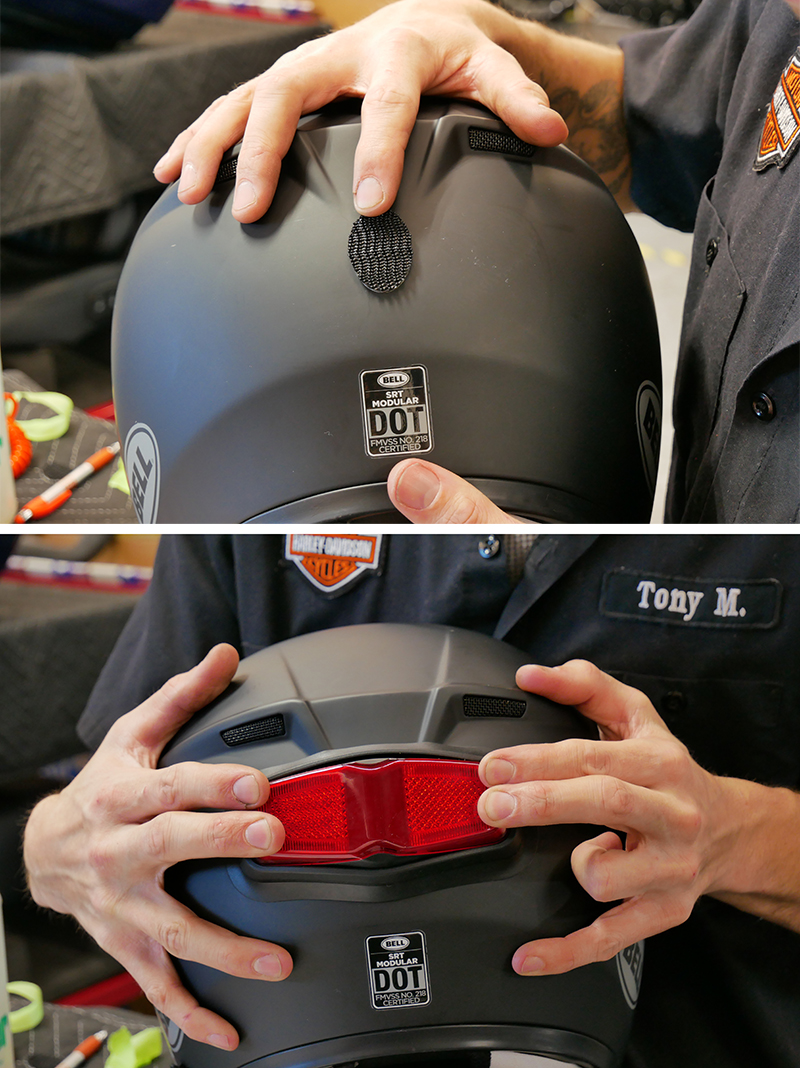 inview turn signal brake light helmet attach velcro