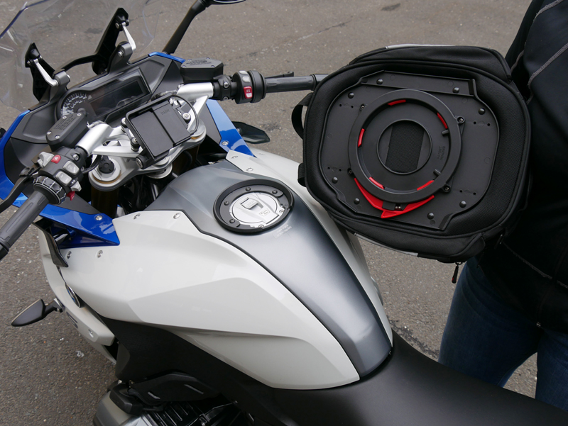 easy mount tank bags for standard sport sport-touring motorcycle tank ring plate