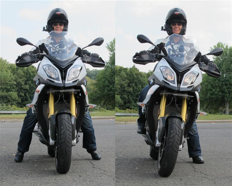 As part of my job test riding motorcycles, I must be able to ride any size motorcycle. Leaning to the left while seated on the motorcycle when stopped, shown in the photo at right, is one effective way to be in control on a taller motorcycle.