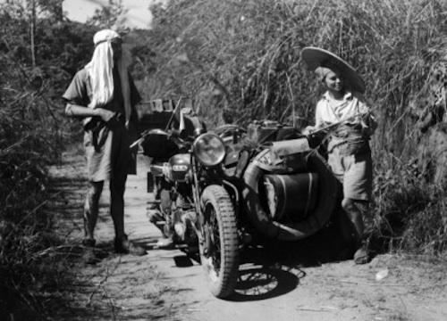 honeymooning by motorcycle 1934 BSA sidecar jungle