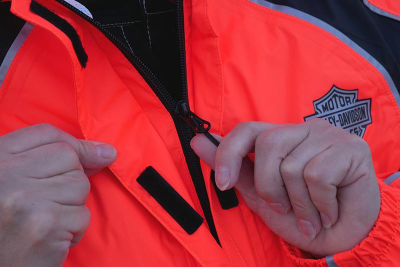 harley-davidson womens hi-vis rain suit orange reflective gear zipper