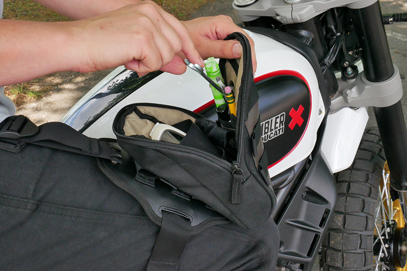 Lightweight bags that strap securely to your leg for on and off the bike sw-motech legend gear interior pockets