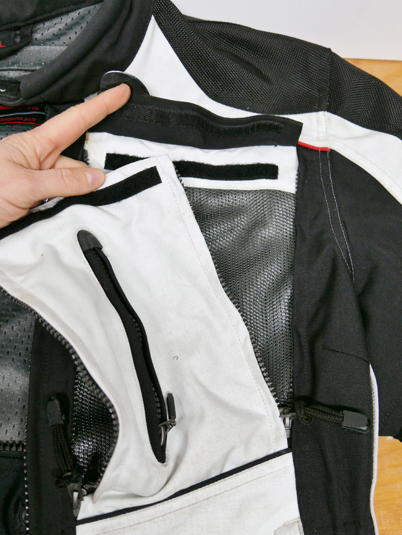 affordable techncial 4 season motorcycle riding suit chest panel