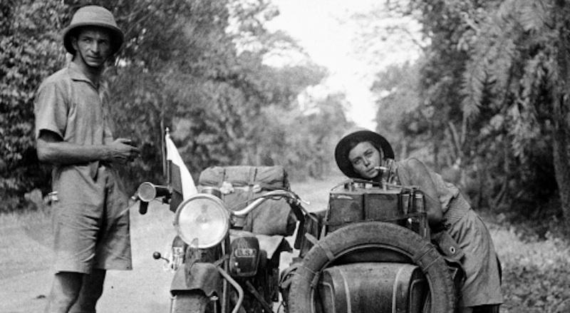 honeymooning by motorcycle 1934 Stanislaw and Halina Bujakowski