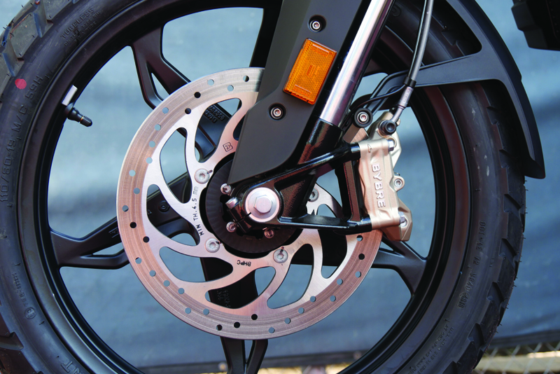 review bmw g 310 gs entry level dual sport front brake