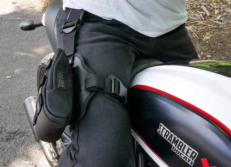 Lightweight bags that strap securely to your leg for on and off the bike sw-motech legend gear strap buckles