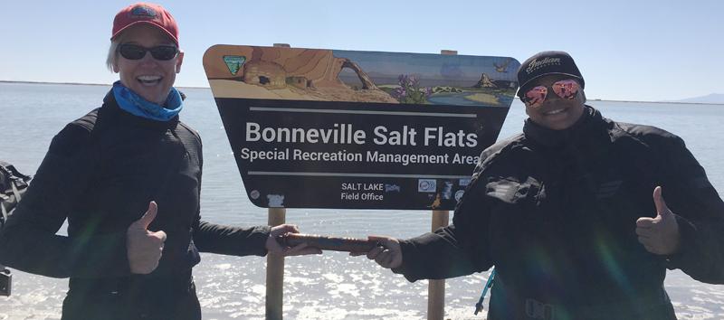 Women Riders World Relay WRWR Hits American Road_Bonneville Salt Flats Porche Taylor Erin Sills