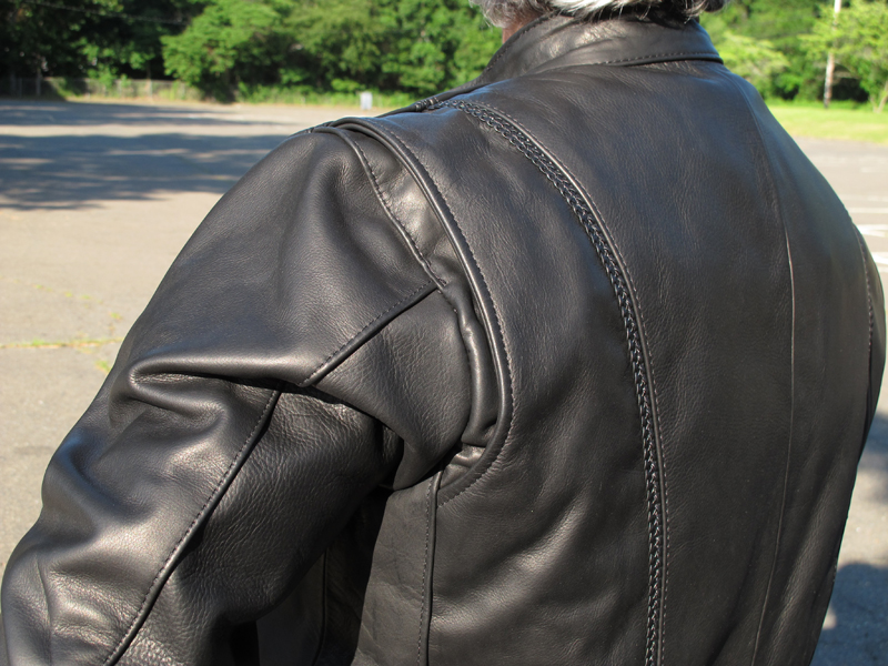 review leather motorcycle jacket with braided detail made in usa shoulder