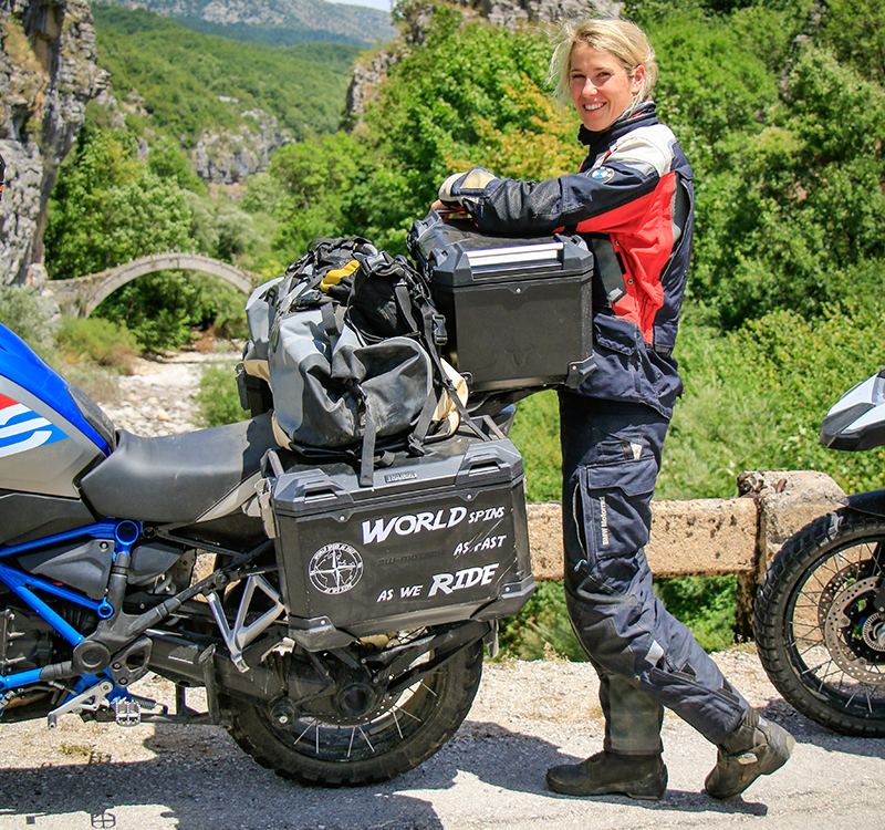 women riders now guide to motorcycle camping SW-MOTECH dry bag
