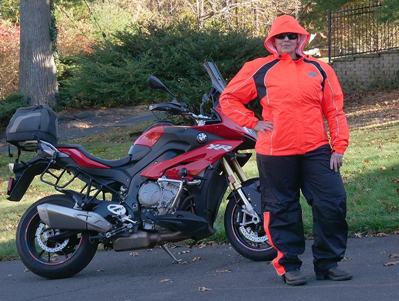 harley-davidson womens hi-vis rain suit orange reflective gear bmw s1000xr