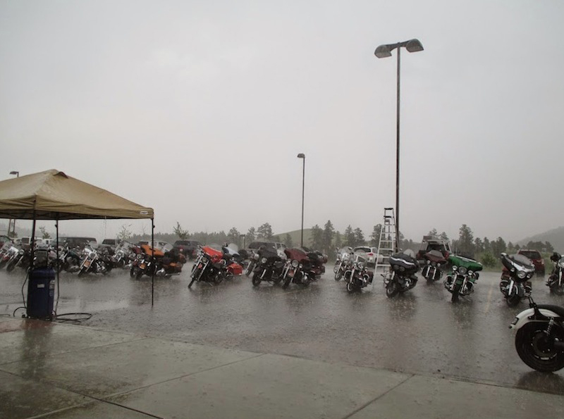riding in the rain bikes parked