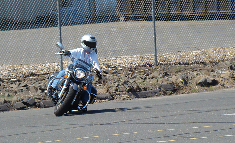 dropping motorcycle in a turn