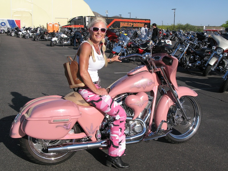 your motorcycles susan barnetts mini pink bagger